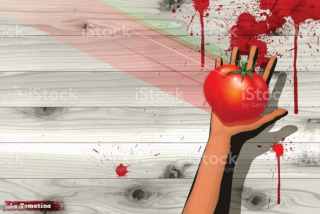 La Tomatina background [Catching a tomato] vector art illustration
