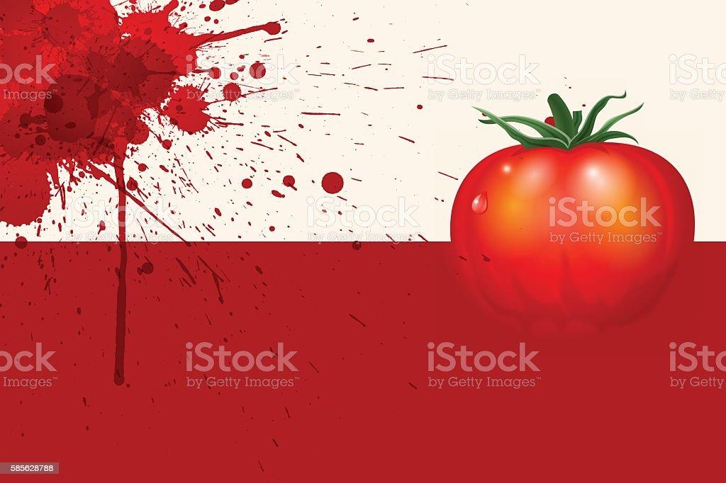 La Tomatina background [Splattering and tomato] vector art illustration
