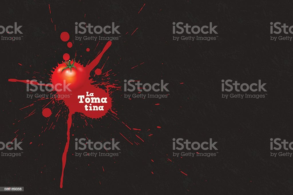 La Tomatina background [Splattering tomato] vector art illustration