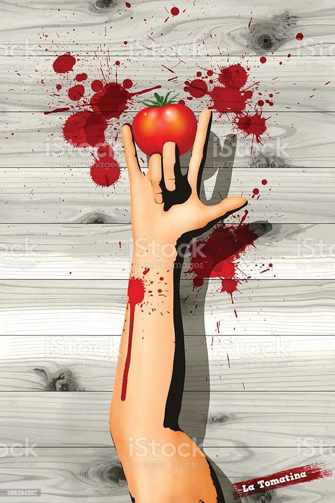 La Tomatina background[Handsign and a tomato] vector art illustration