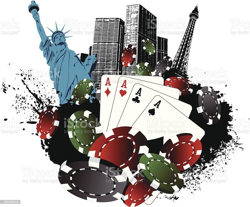 La Vegas Poker City vector art illustration