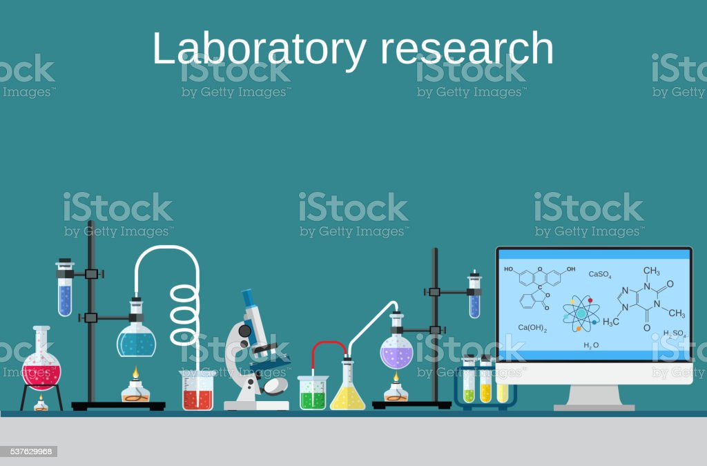 Lab worker table computer chemical research process. vector art illustration