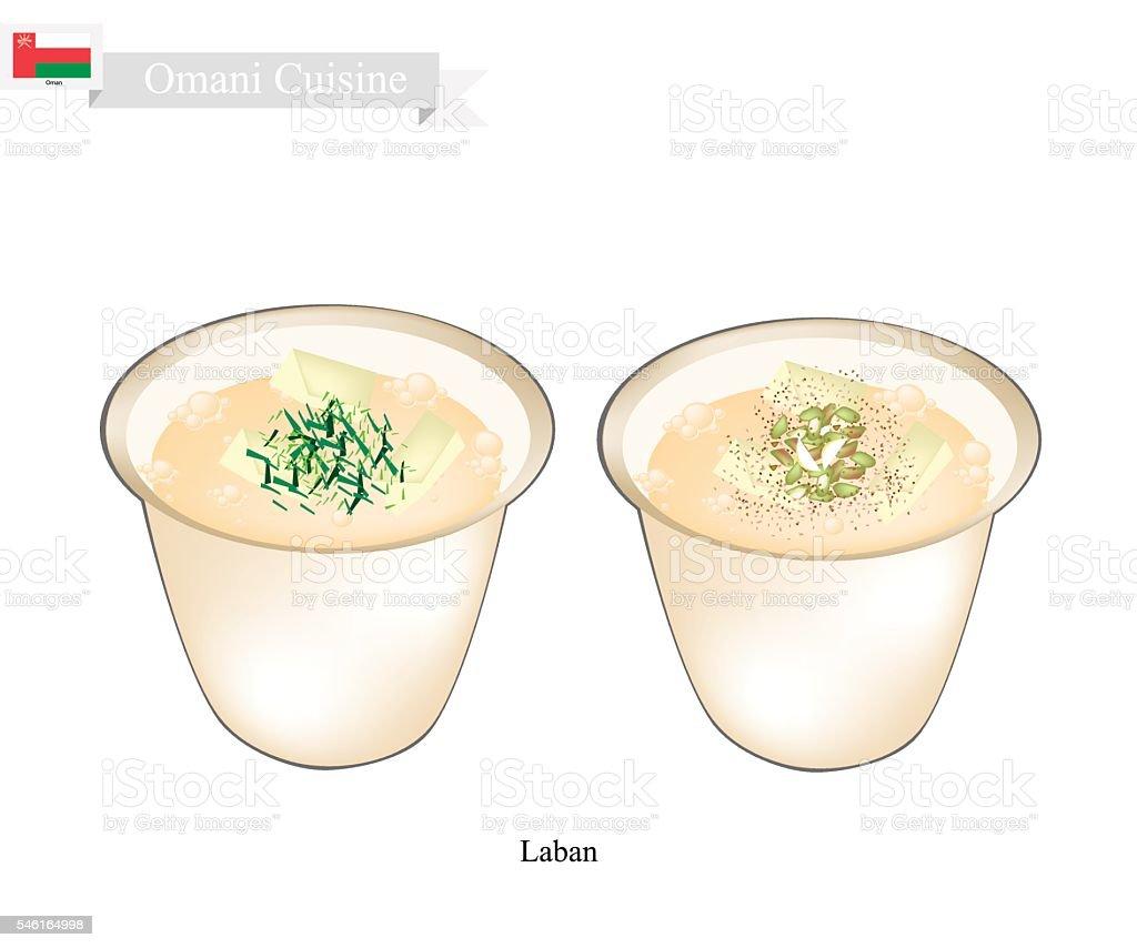 Laban or Omani Fermented Milk with Sour Flavor vector art illustration