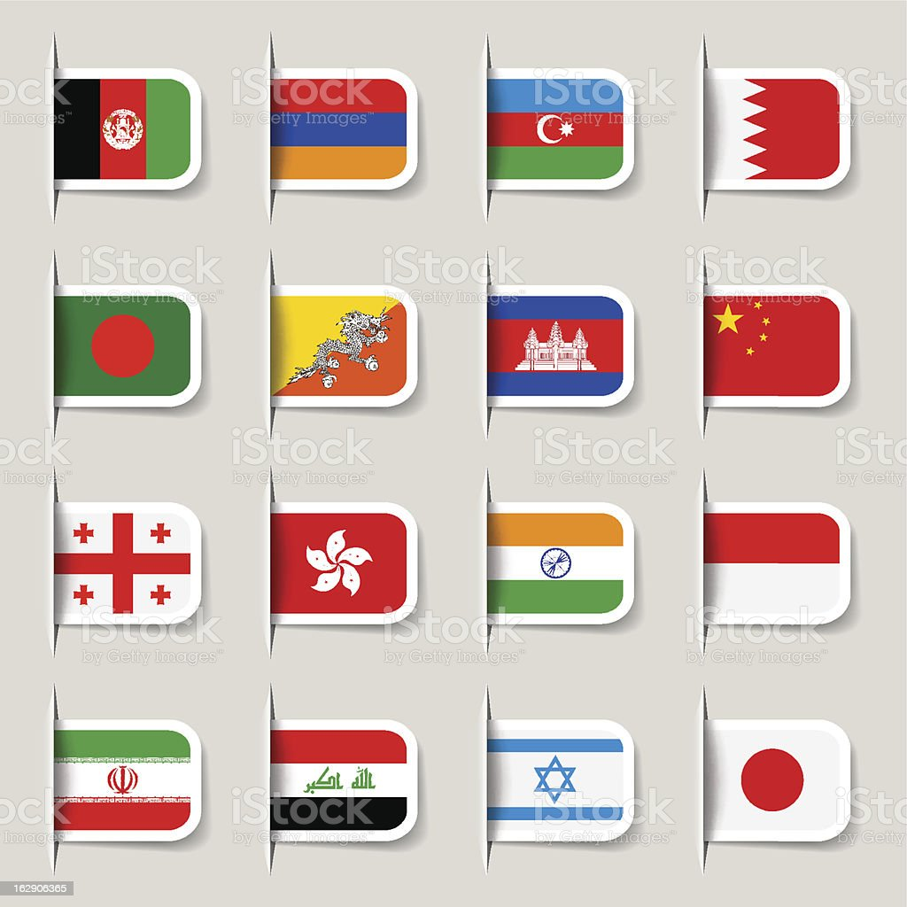 Label - Asian Flags royalty-free stock vector art