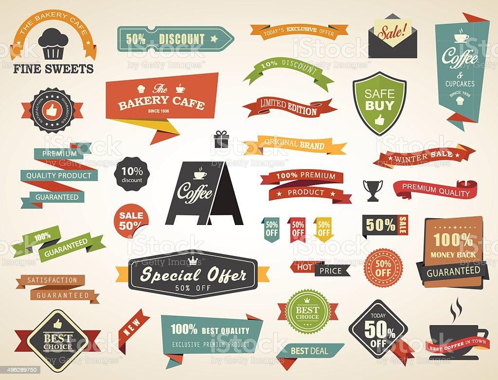 Label Banner Tag Sticker Badge Vintage Vector Set vector art illustration