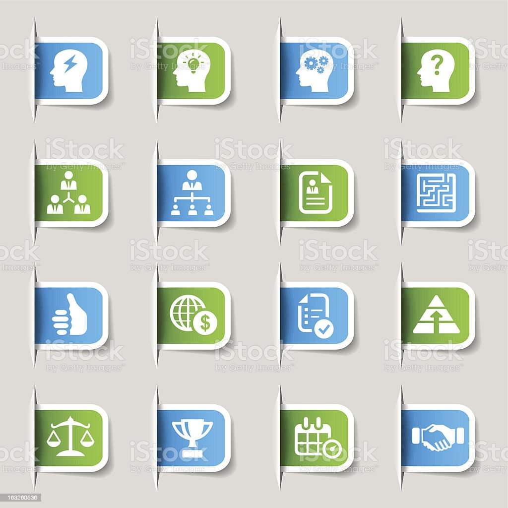 Label - Business strategy and management icons royalty-free stock vector art
