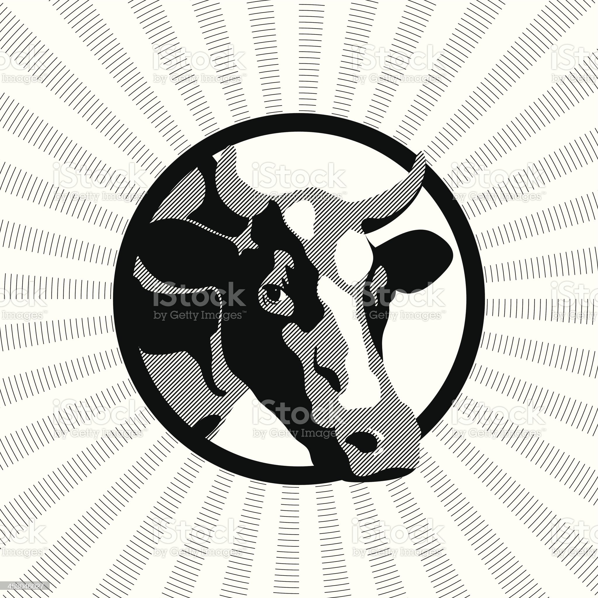Label cow black-and-white royalty-free stock vector art