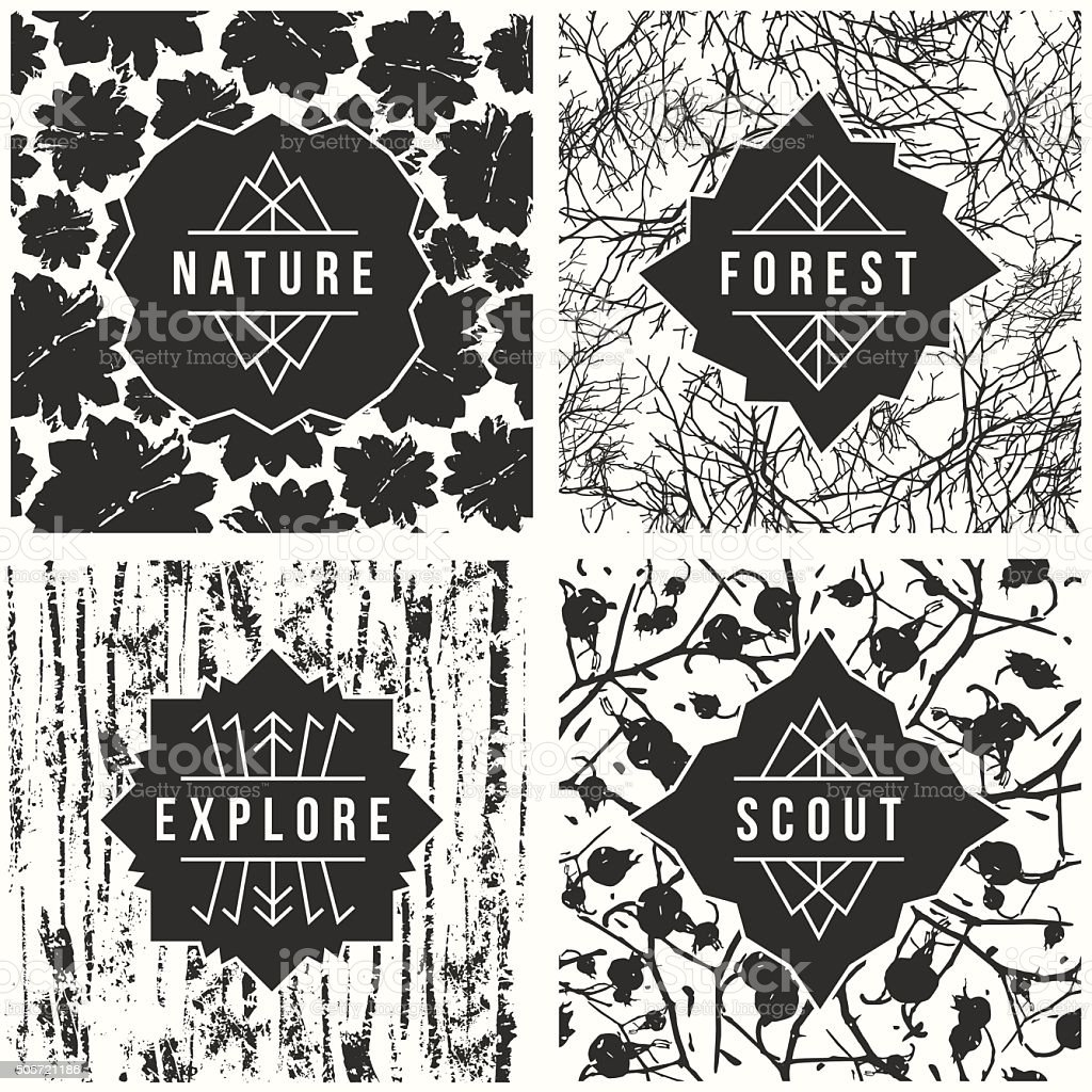Label design with seamless patterns vector art illustration