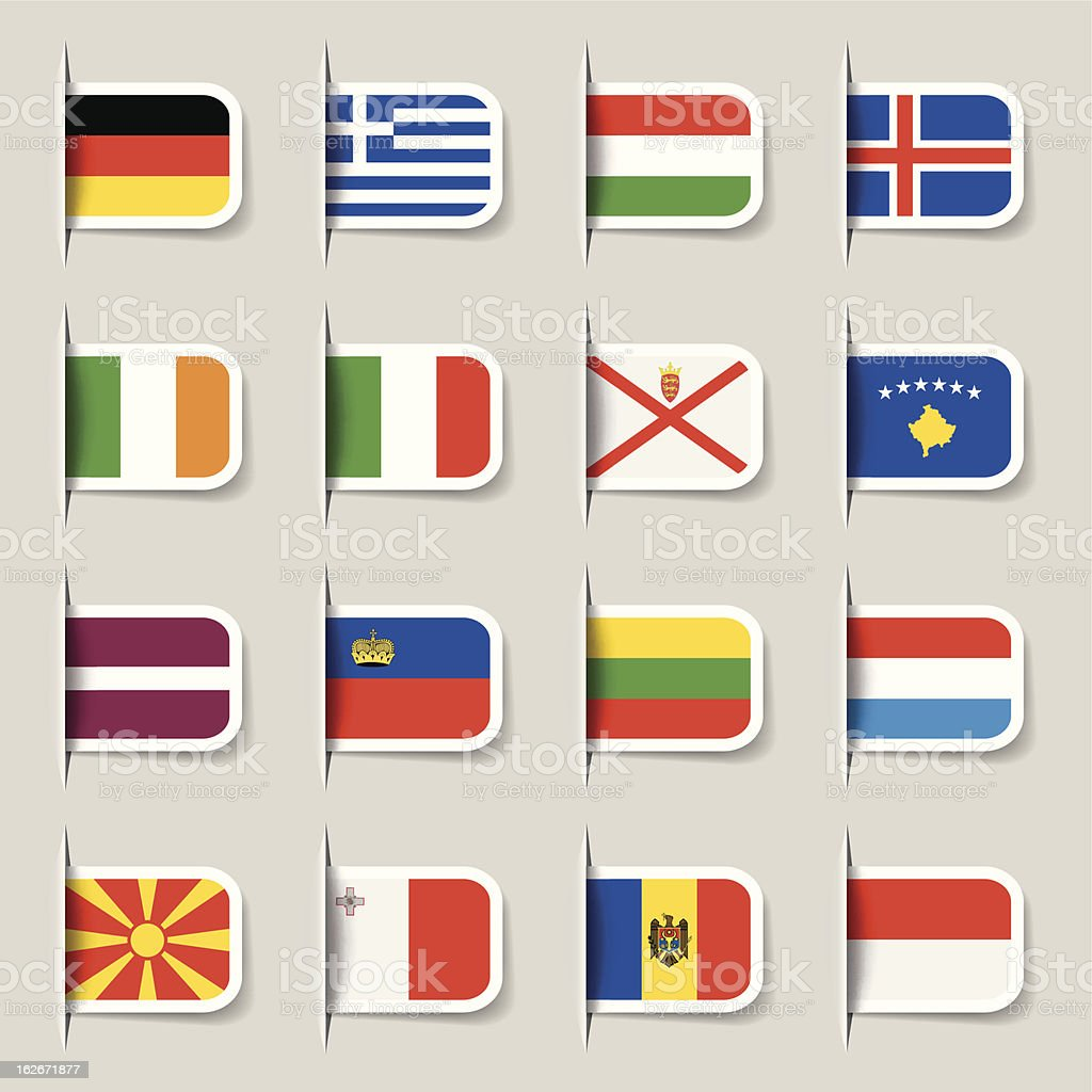 Label - European Flags royalty-free stock vector art