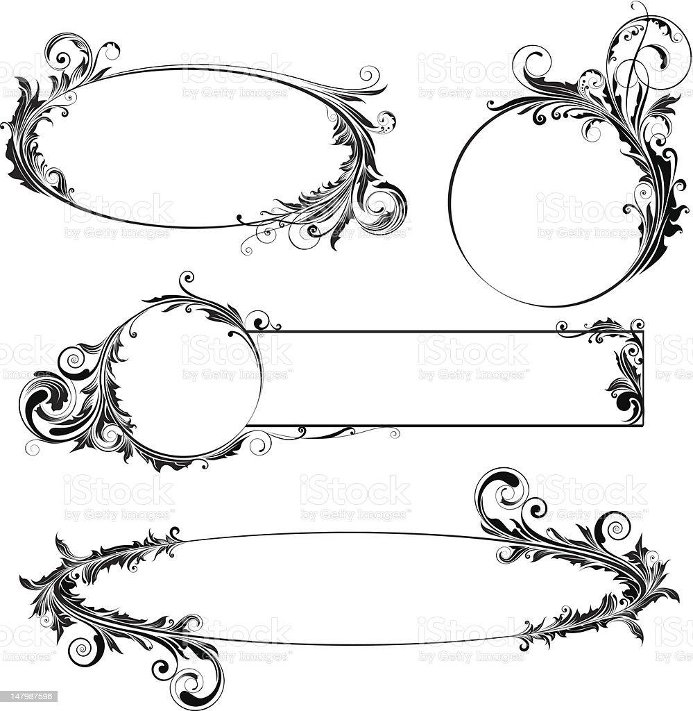 Label floral design vector art illustration