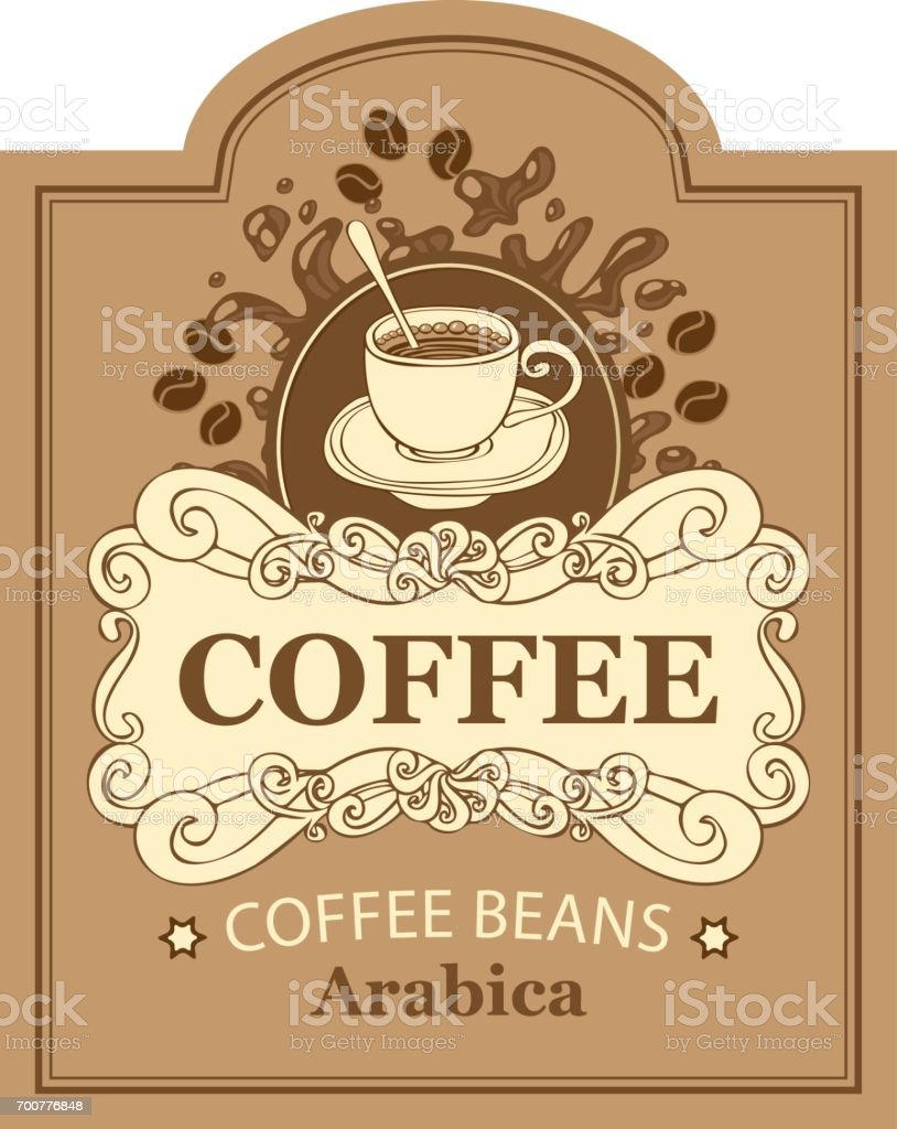 label for coffee beans arabica with cup and splash vector art illustration