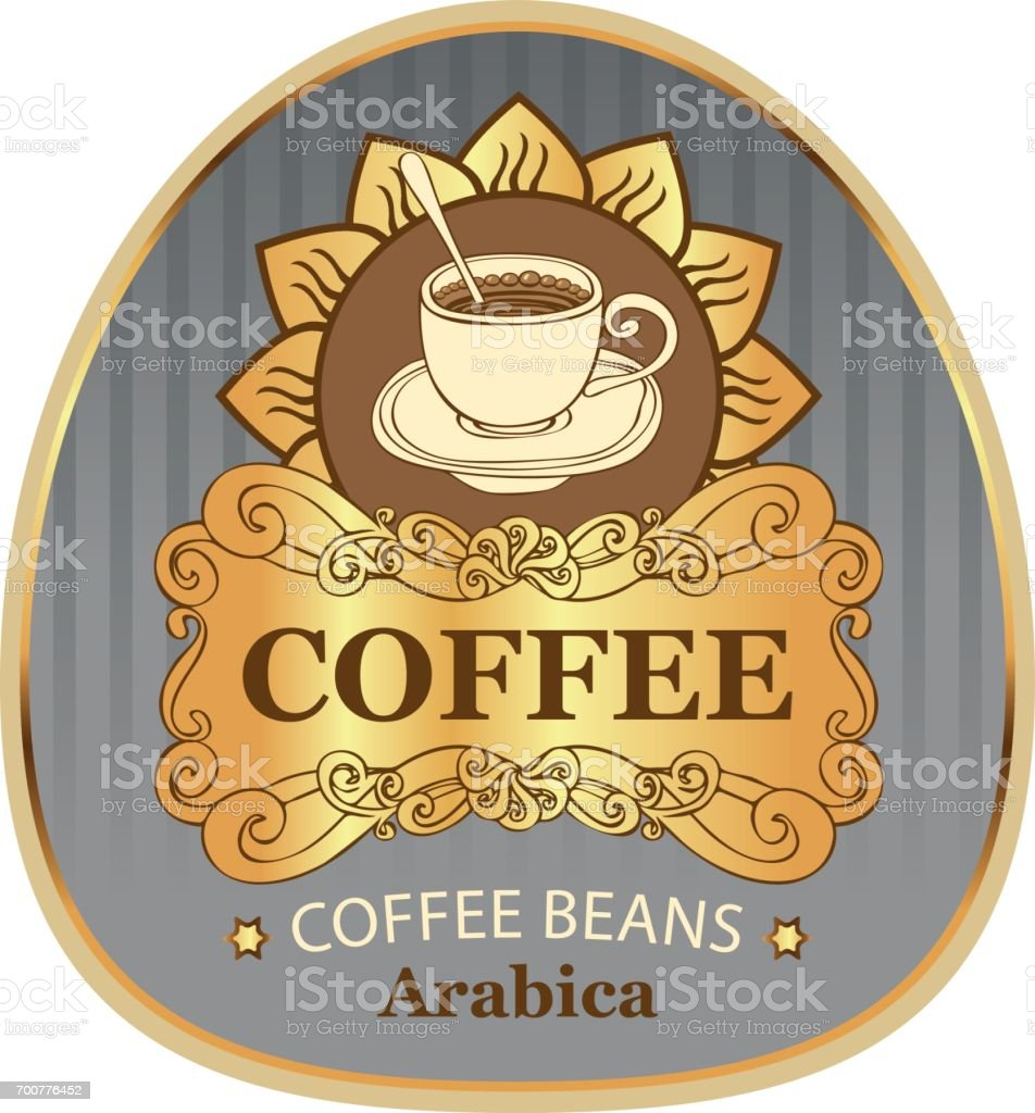 label for coffee beans arabica with cup and sun vector art illustration