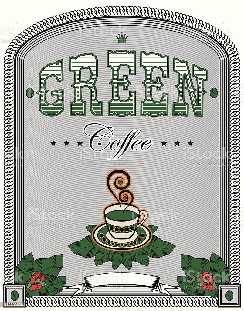 label for green coffee royalty-free stock vector art