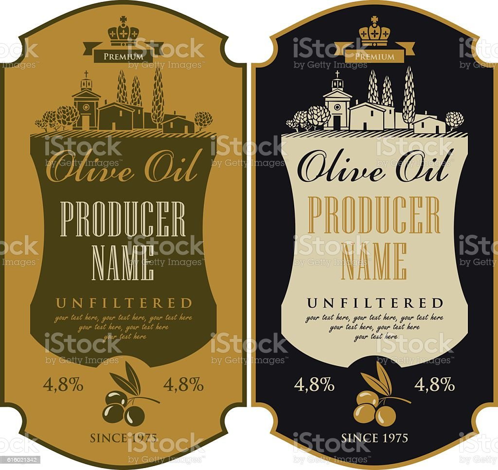 label for olive oil vector art illustration