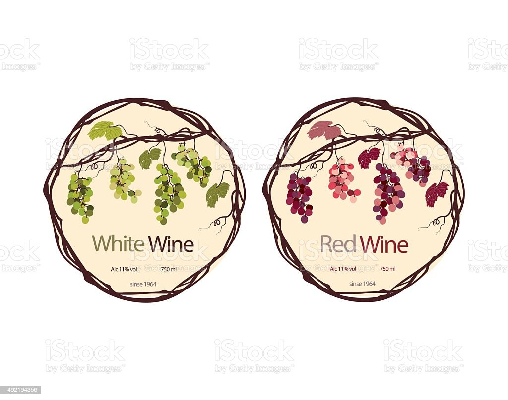 Label for red and white wine vector art illustration