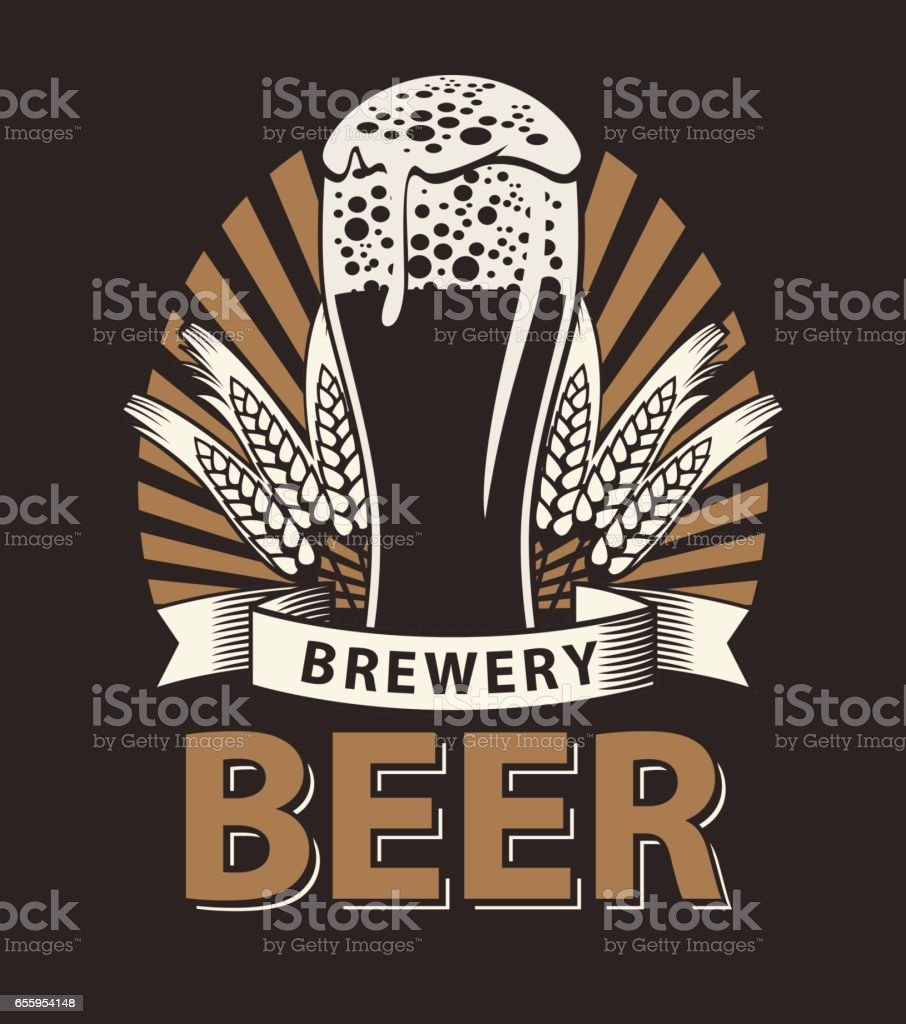 label for the beer in the brown color vector art illustration