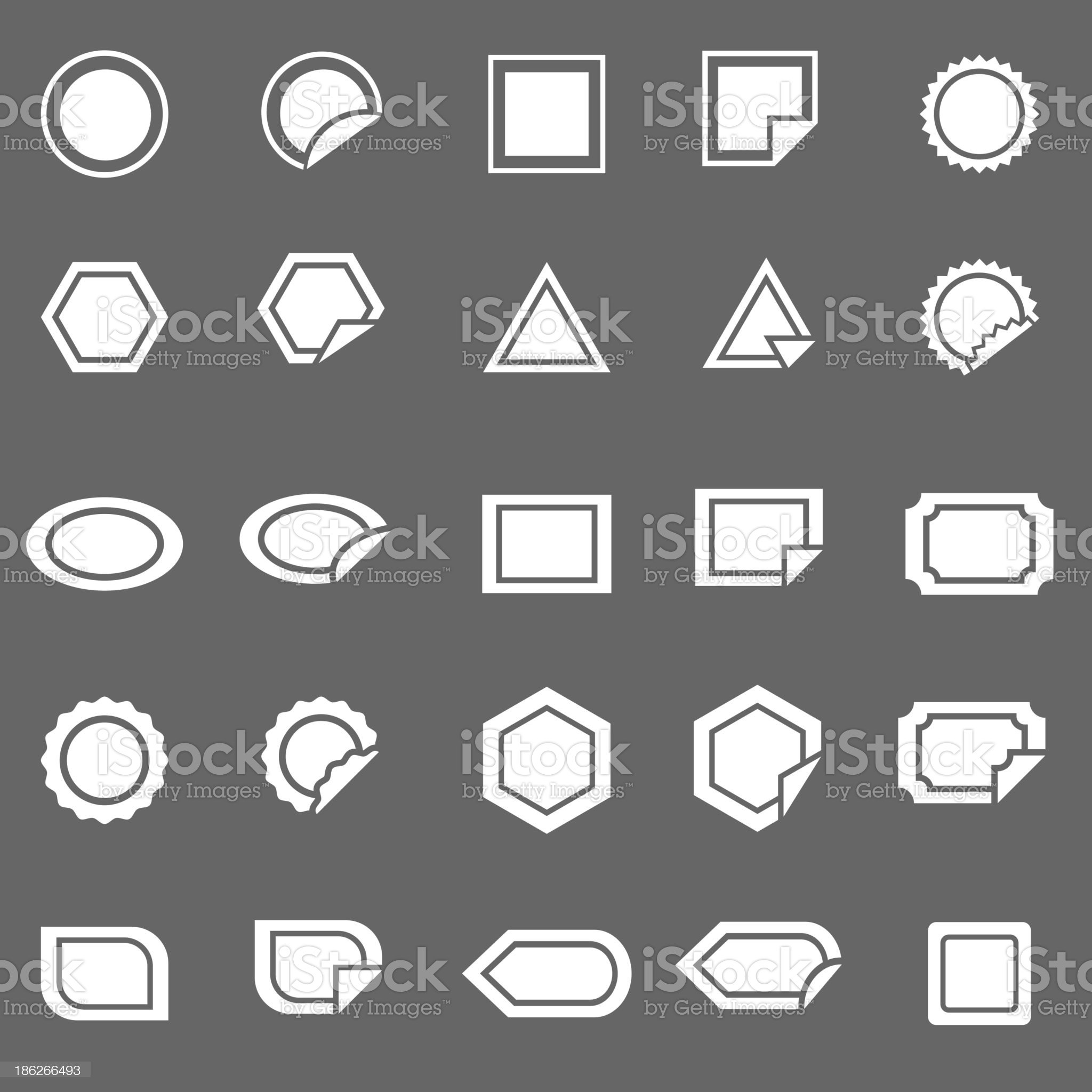 Label icons on gray background royalty-free stock vector art