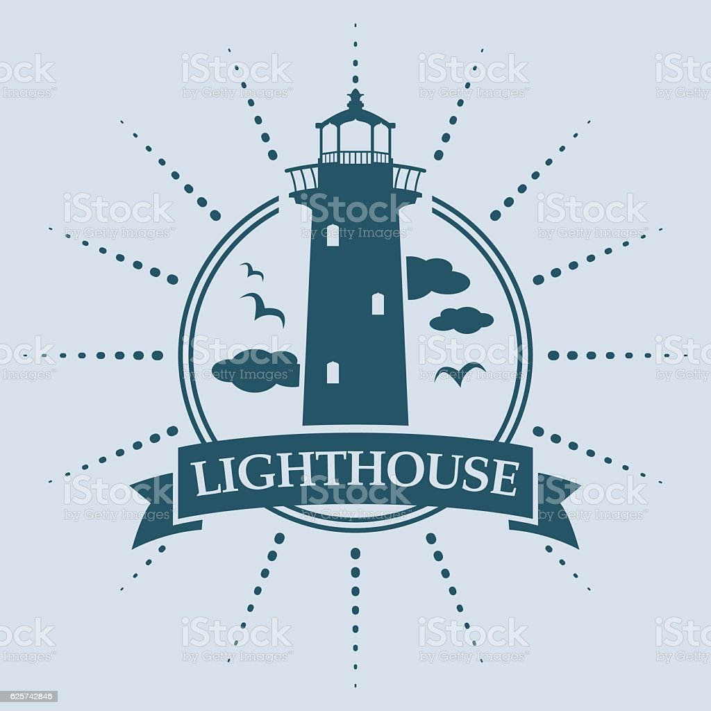 Label Lighthouse Insignia vector art illustration