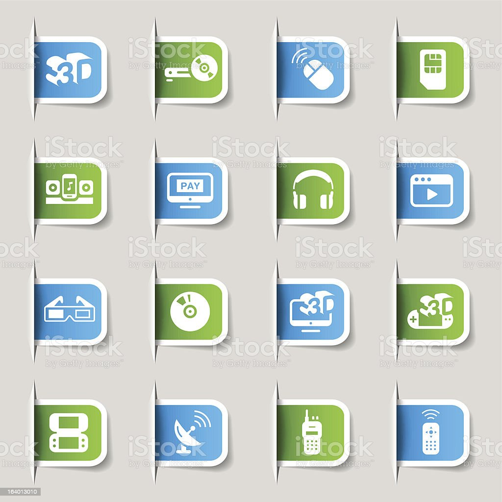 Label - Media and Technology Icons royalty-free stock vector art