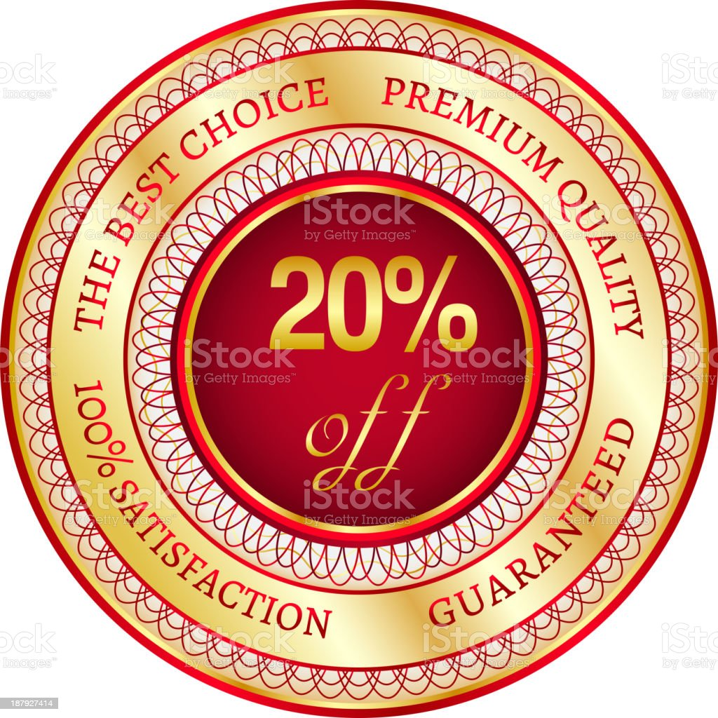 Label on 20 percent discount royalty-free stock vector art