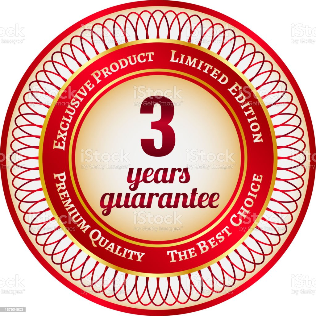 Label on 3 year guarantee royalty-free stock vector art