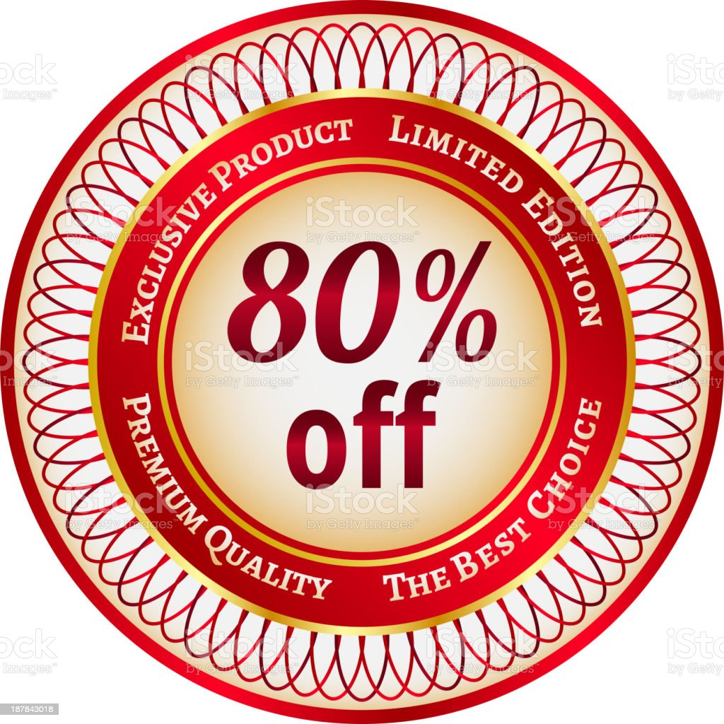 Label on 80 percent discount royalty-free stock vector art