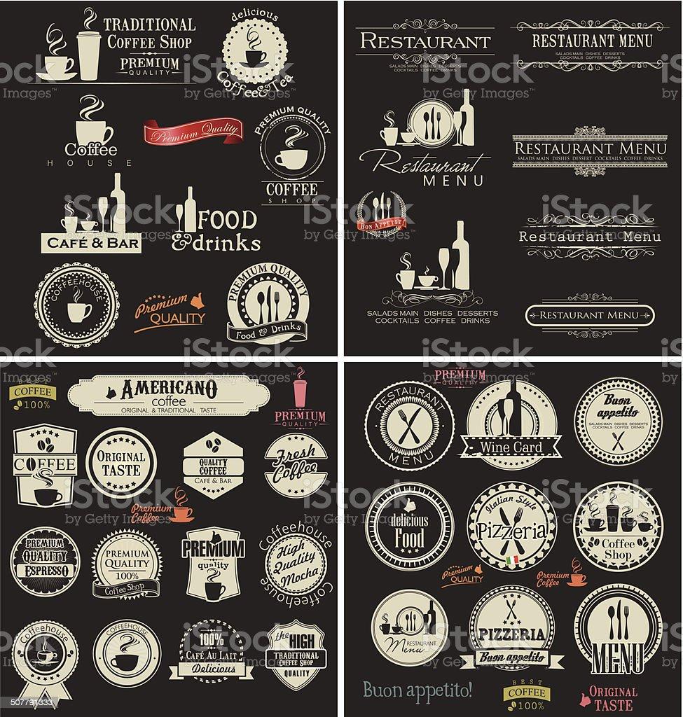 Label set for restaurant and cafe vector art illustration