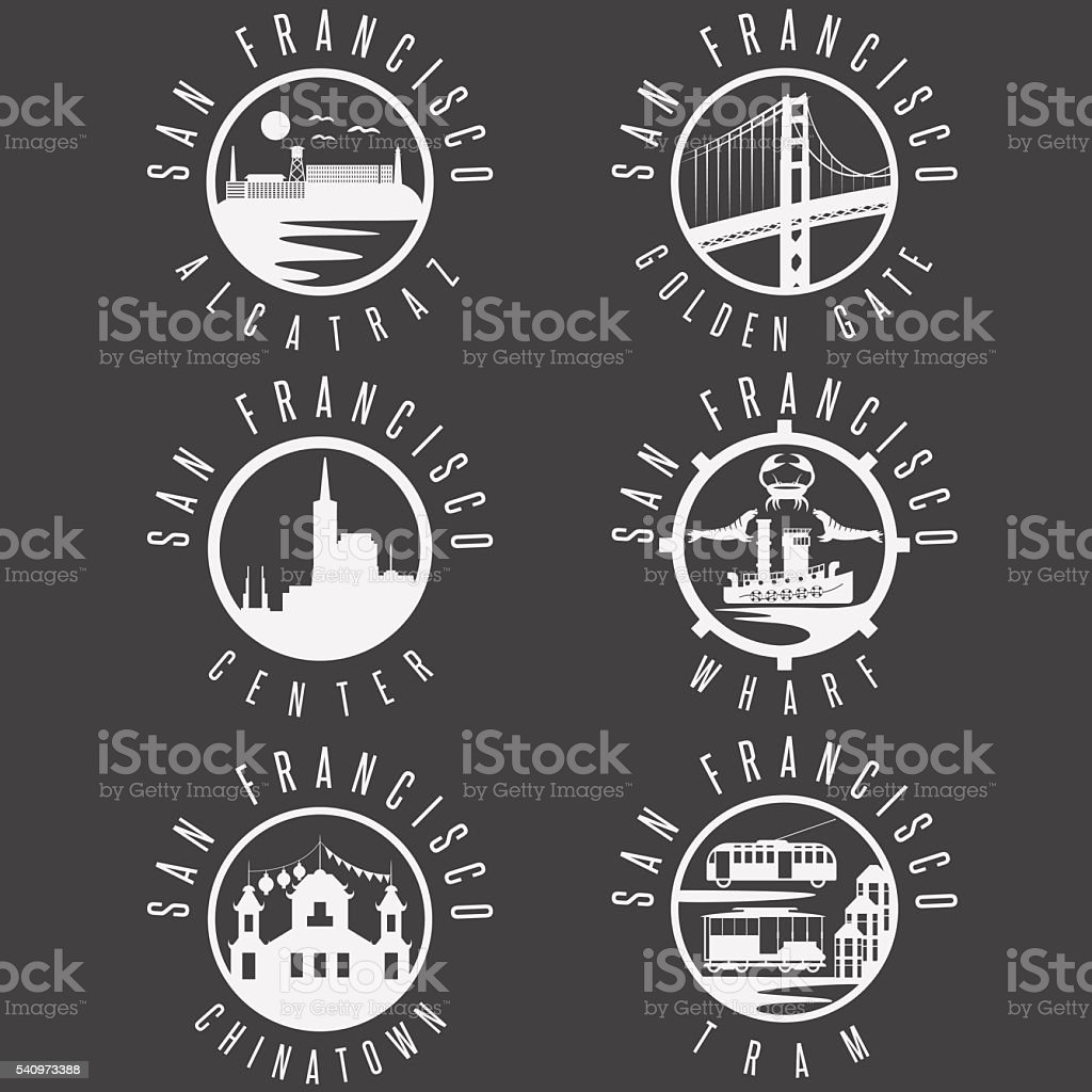 Label set with landmarks of San Francisco California,USA vector art illustration