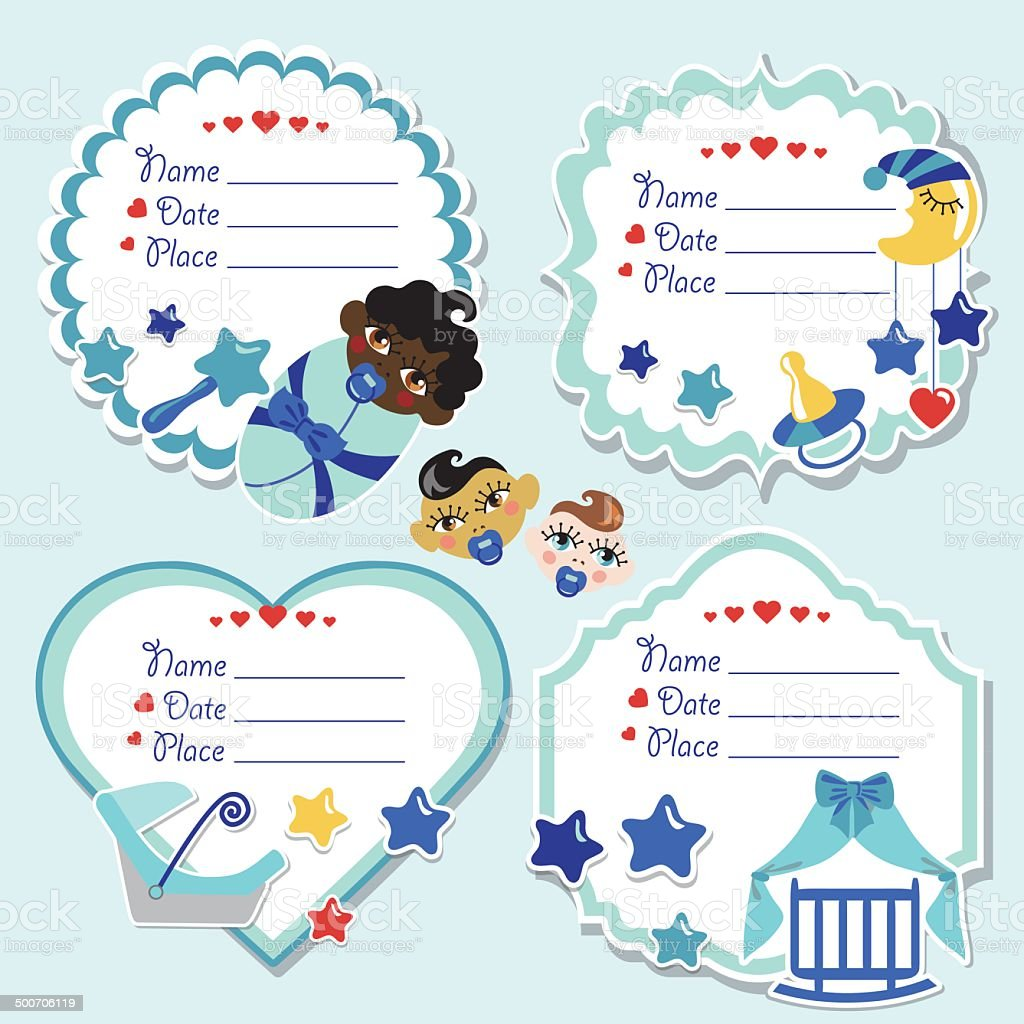 Label set with newborn baby boy and baby shower vector art illustration