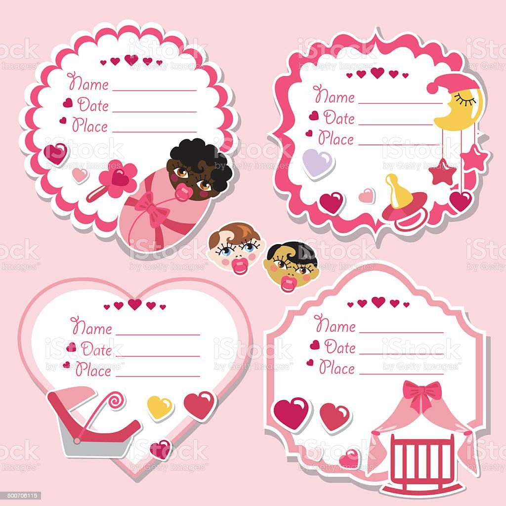 Label set with newborn baby girl and baby shower vector art illustration