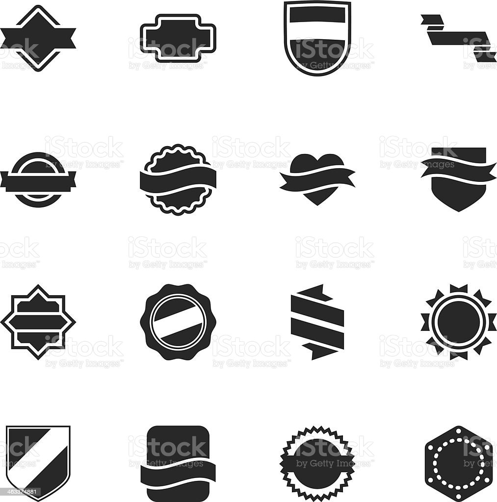 Label Silhouette Icons | Set 5 royalty-free stock vector art