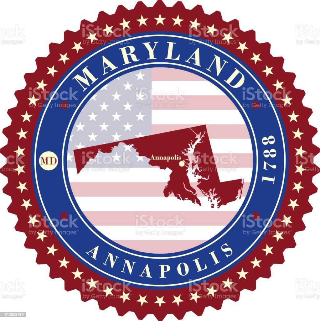 Label  sticker cards of State Maryland  USA vector art illustration