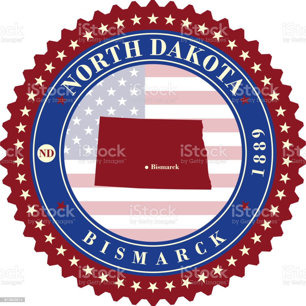 Label sticker cards of State North Dakota USA vector art illustration