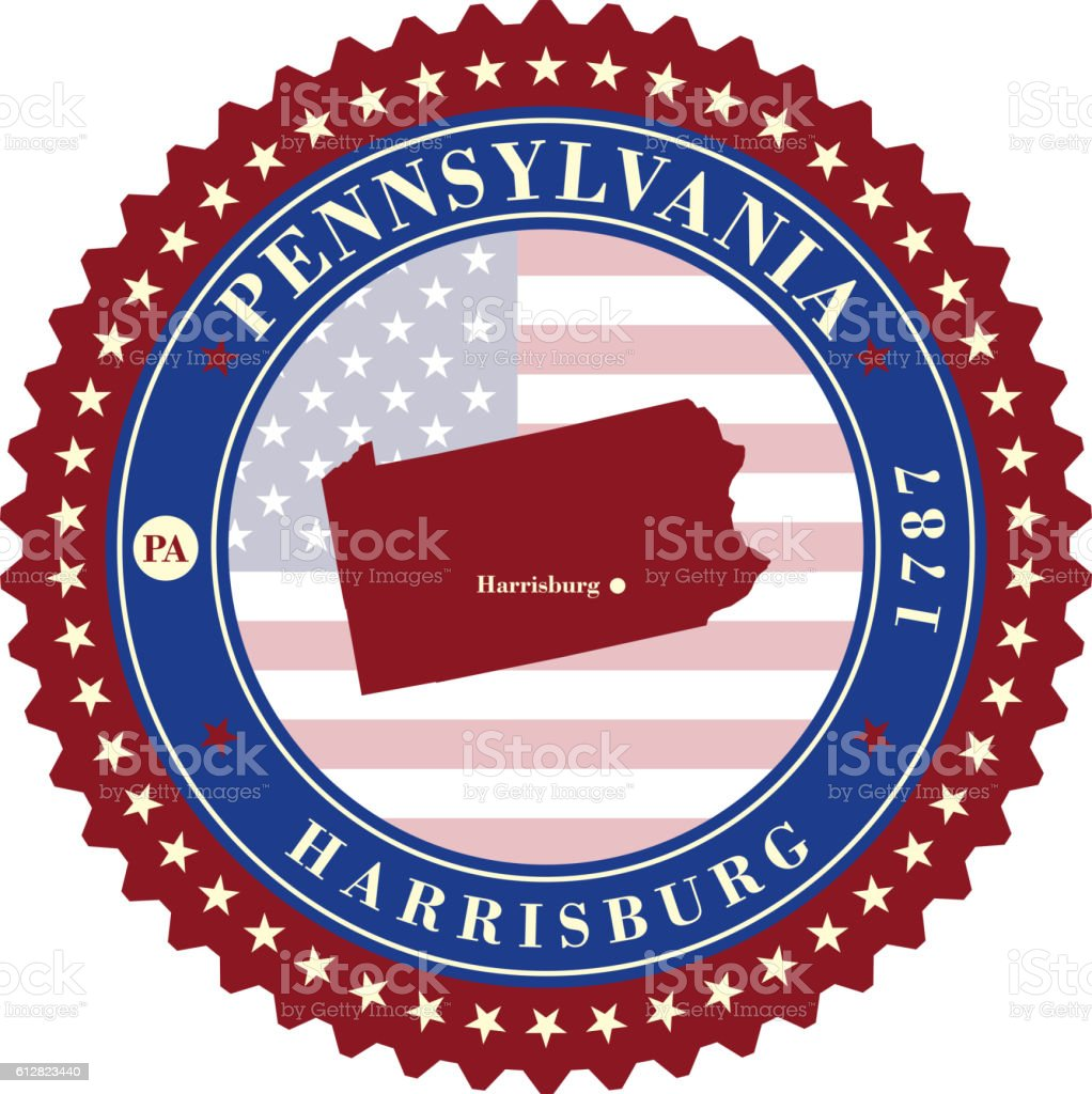 Label  sticker cards of State Pennsylvania USA vector art illustration