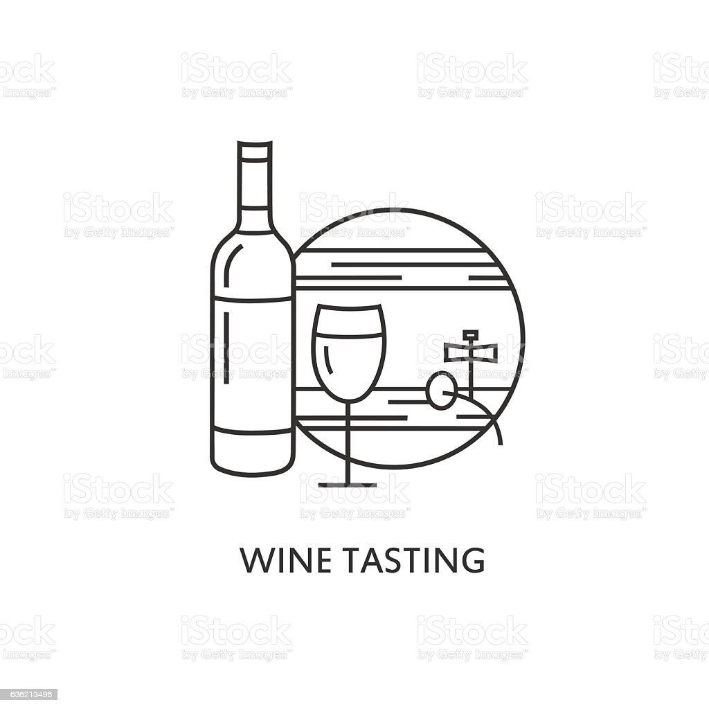 Label Wine tasting. Line style template. vector art illustration