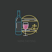 Label Wine tasting. Line style template with wine tasting elements.