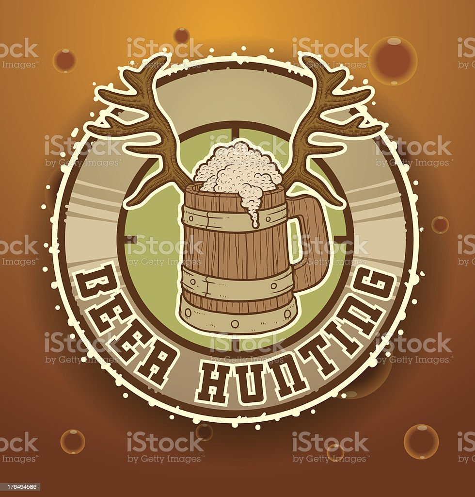 Label with a mug of beer hunting royalty-free stock vector art