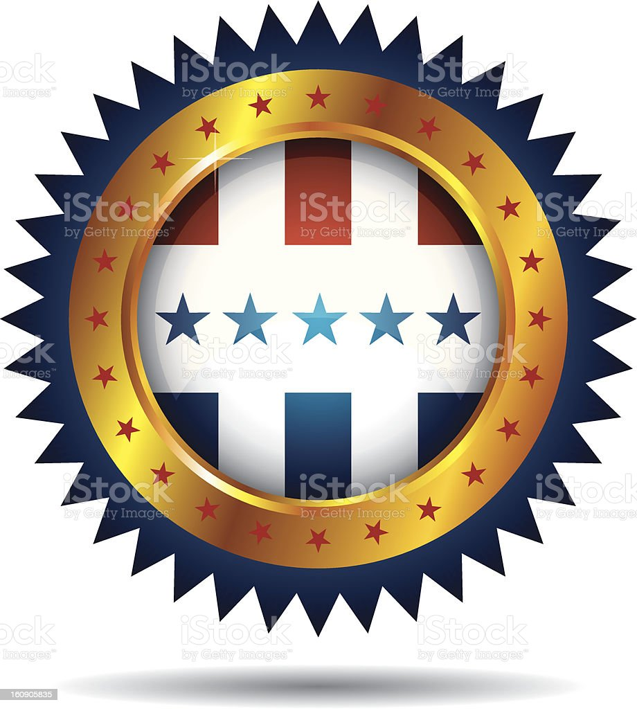 Label with American Flag royalty-free stock vector art