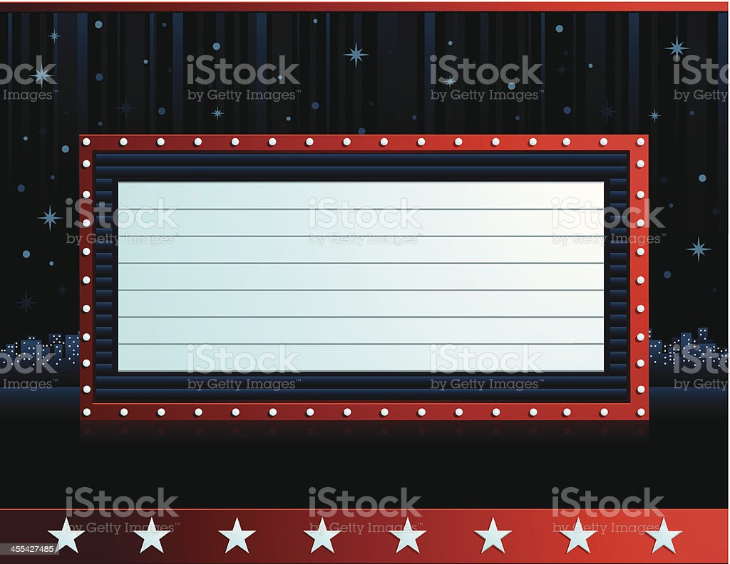 Label with drawings of stars with a red frame in the middle vector art illustration