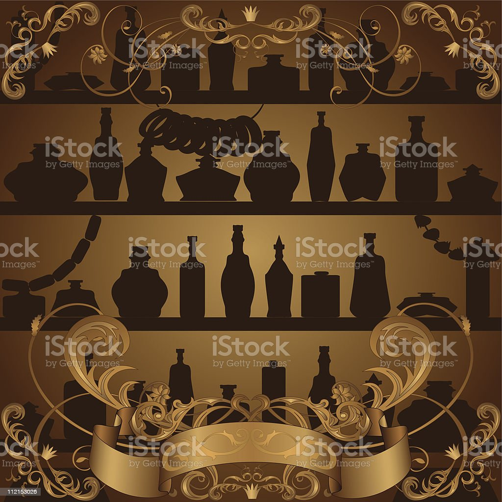 Label with show-window of products, decorated  floral pattern and  banner royalty-free stock vector art