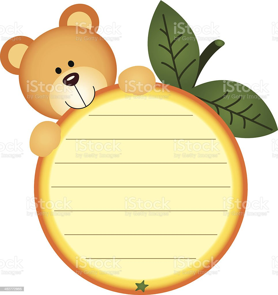 Label with teddy bear eating orange royalty-free stock vector art