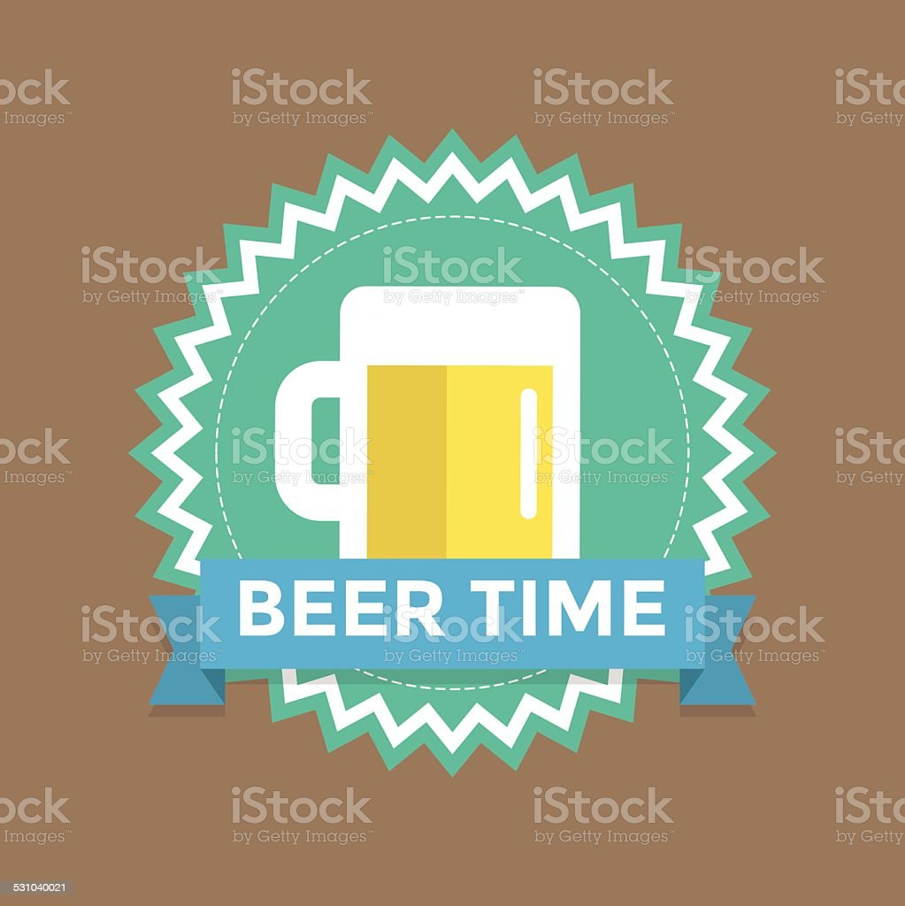 Label with text beer time vector art illustration