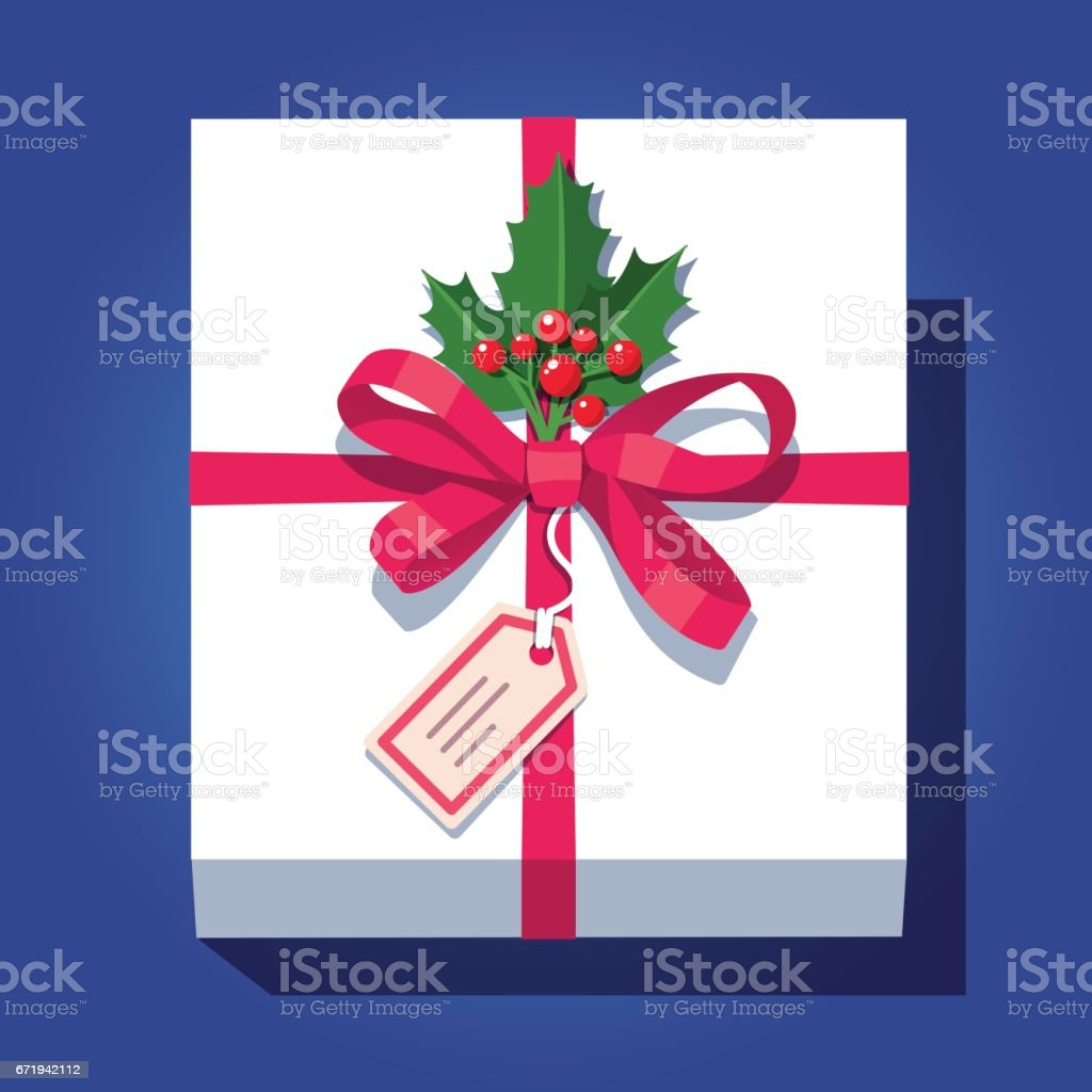 Labeled white wrapped gift box decorated with bow vector art illustration