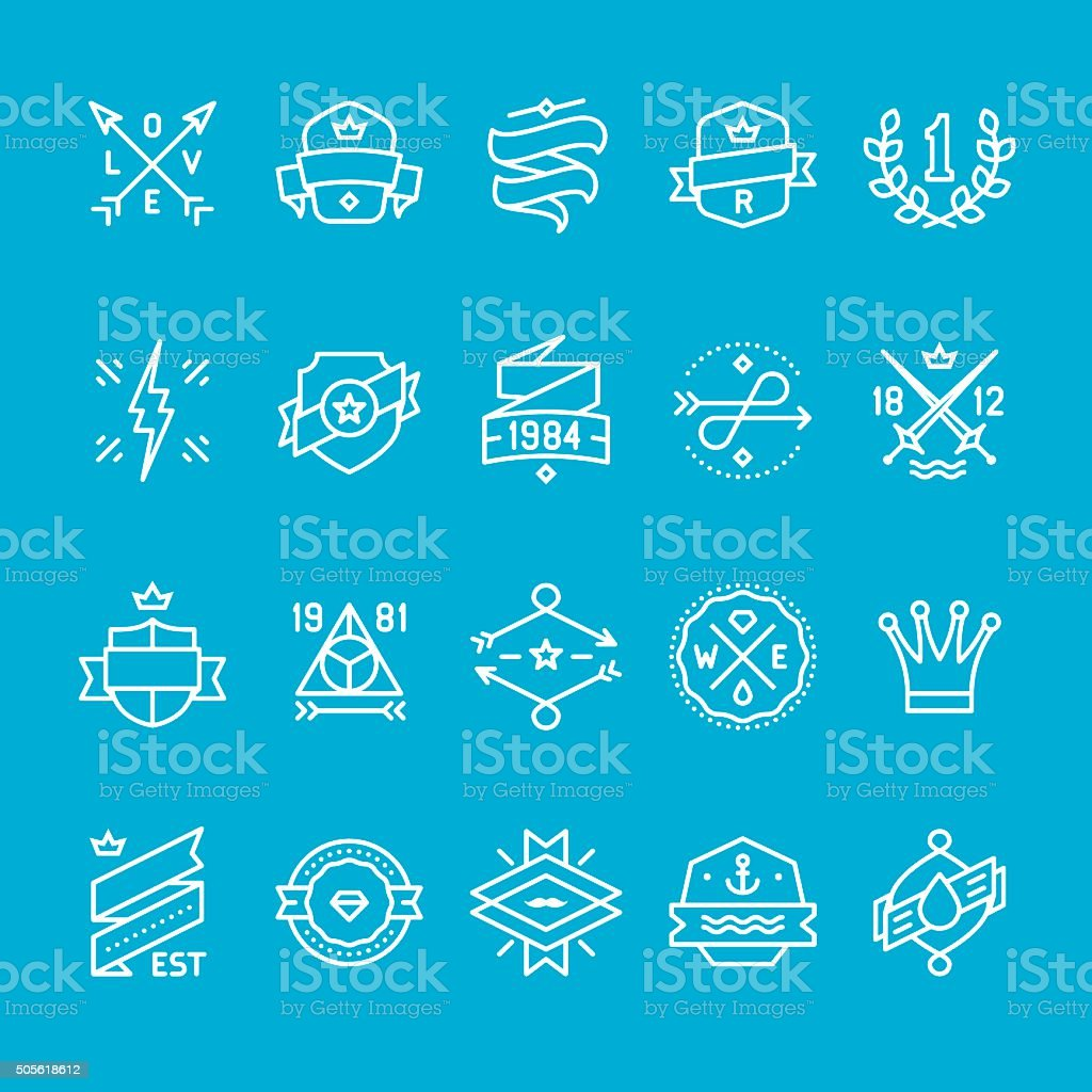 Labels and Banners icons collection vector art illustration