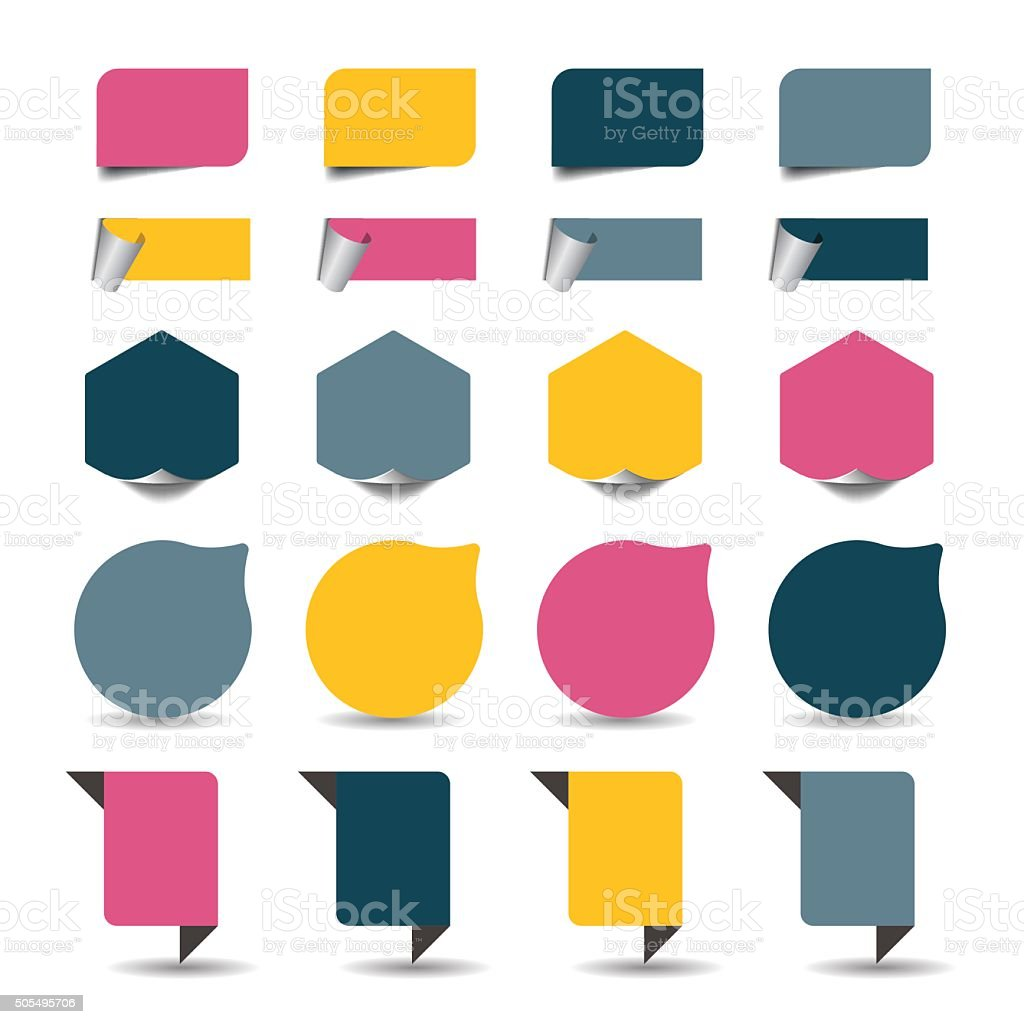 Labels and stickers isolated on white. Vector elements. vector art illustration