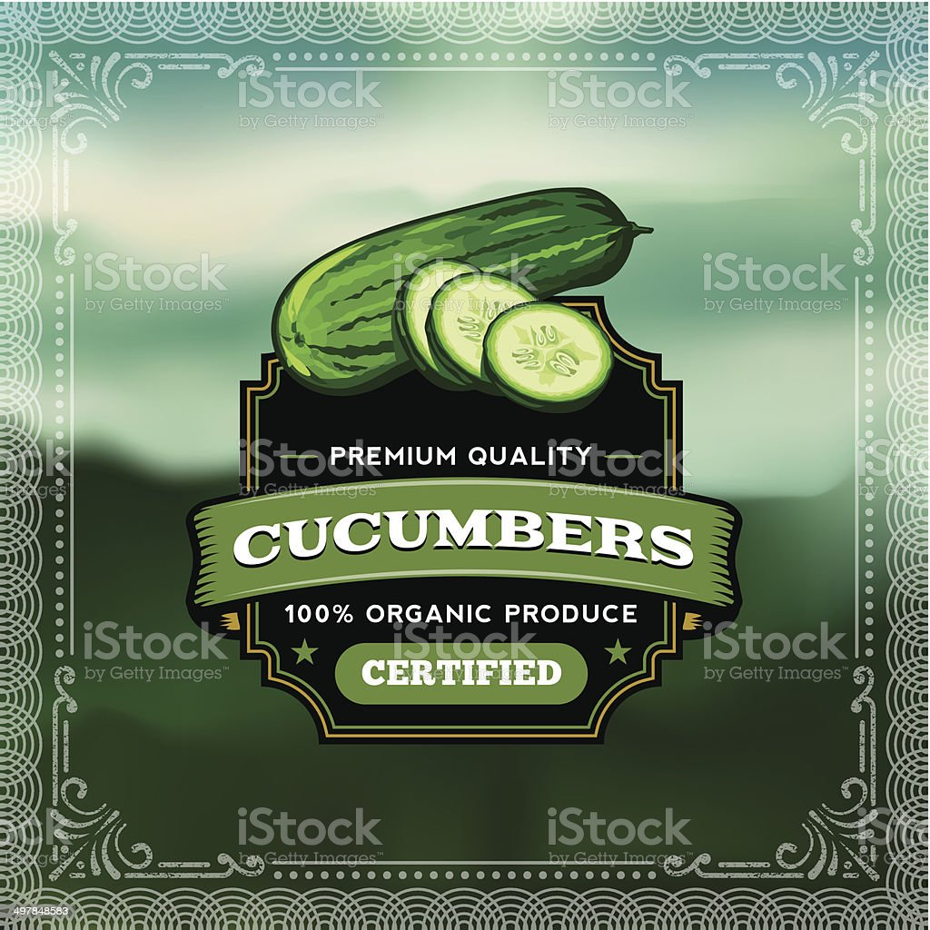 F&B Labels - Cucumbers vector art illustration