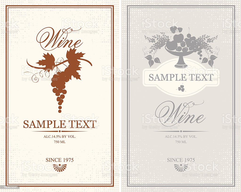 Labels for wine bottles with sample text royalty-free stock vector art