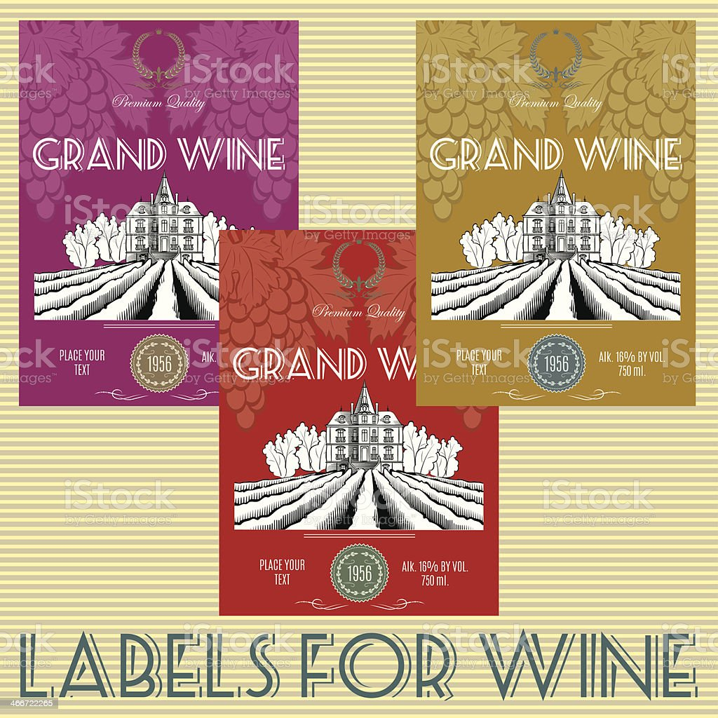 labels for wine with grapes royalty-free stock vector art