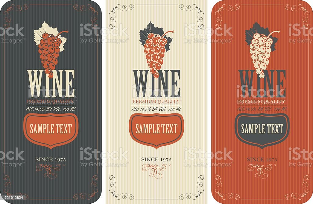 labels for wine with grapes vector art illustration