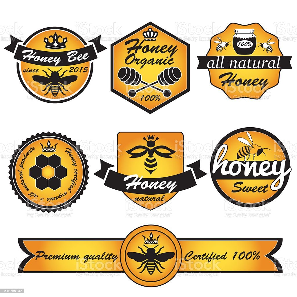 labels honey vector art illustration